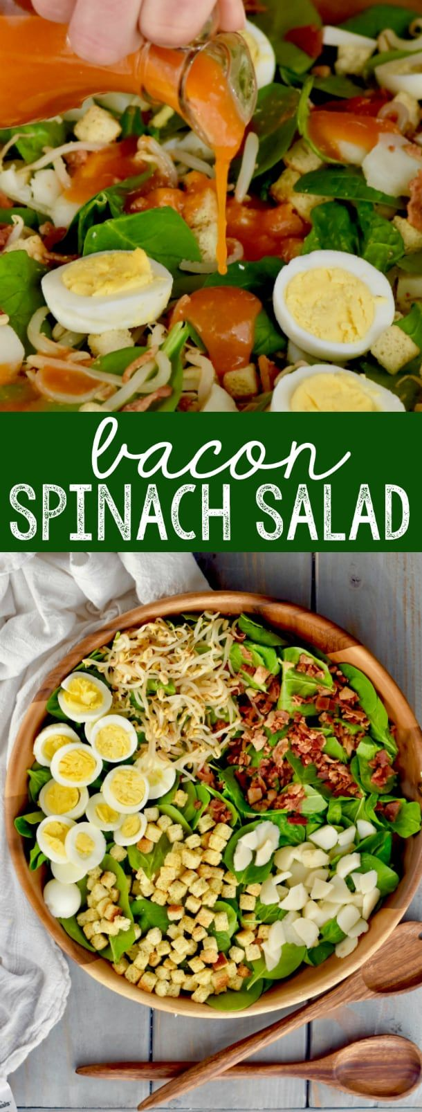 This Bacon Spinach Salad with its hard boiled eggs is perfect for family functions, it's a great potluck recipe, or just served with a great bowl of soup.