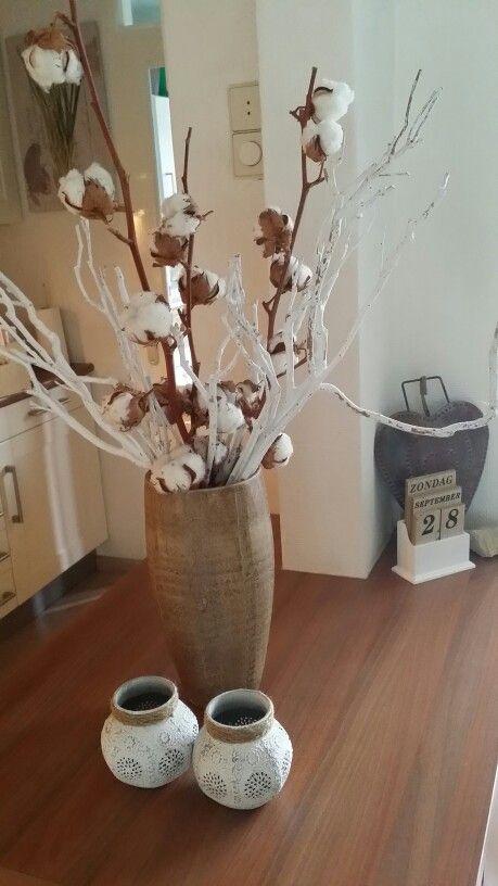Katoen, houten vaas