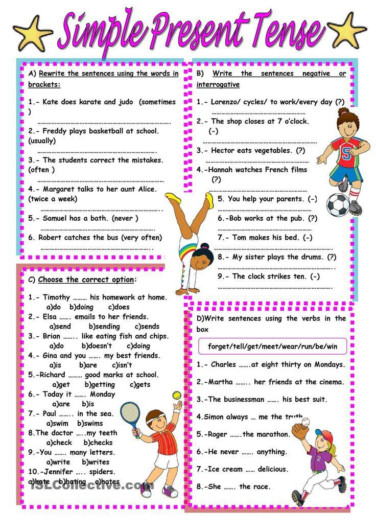 Free Worksheets worksheet simple past : Best 25+ Present tense ideas on Pinterest