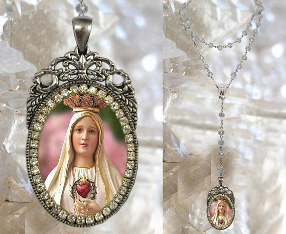 Rosary of Our Lady of Fatima Charm Necklace Catholic Christian