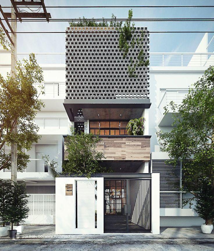 Thiết kế mặt tiền nhà phố với kiến trúc độc đáo