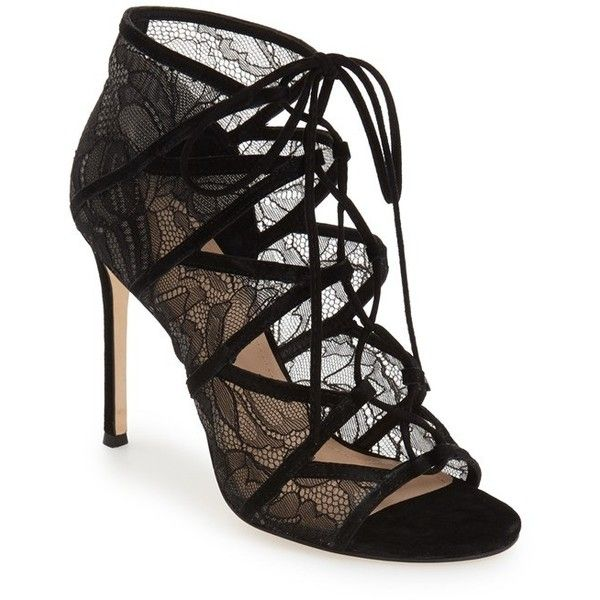 "Pour la Victoire 'Ellery' Lace-Up Sandal, 4 1/4"" heel found on Polyvore featuring shoes, sandals, heels, black lace, black lace stilettos, stiletto sandals, high heel stilettos, lace-up sandals and lace up stilettos"