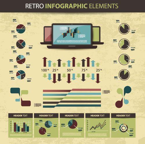 Vector Infographic Elements Sets Retro