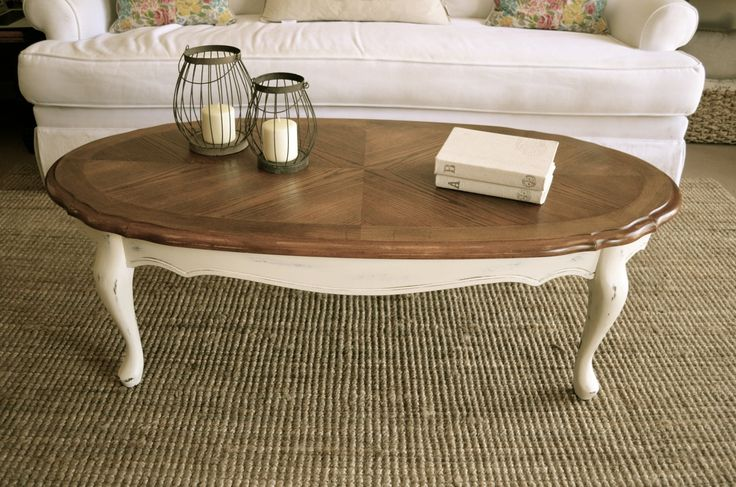 """Distressed antique white Queen Anne coffee table by Analia Pastori Available at """"The Workshop"""" is located at 4060 Morena Blvd. Suite H San Diego, CA"""