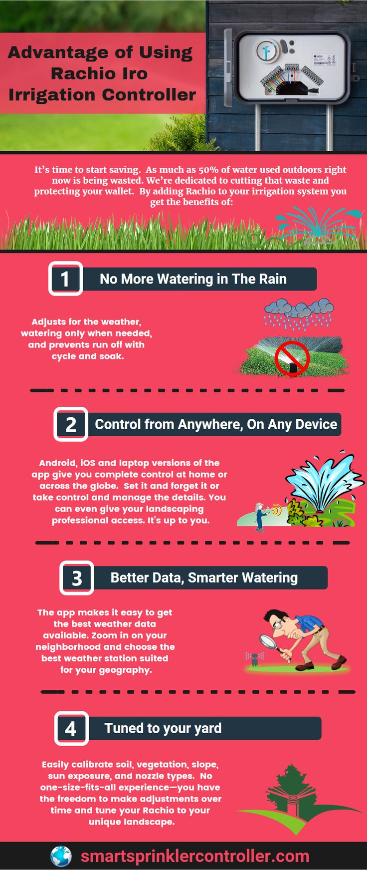 If you are using an #irrigation system for your lawn or garden but you're not happy with it. So use the best Rachio Iro Smart Sprinkler Controller. This infographic showing you advantage of using rachio iro irrigation controller. Have a look out. https://www.smartsprinklercontroller.com/rachio-iro-generation-2-review/