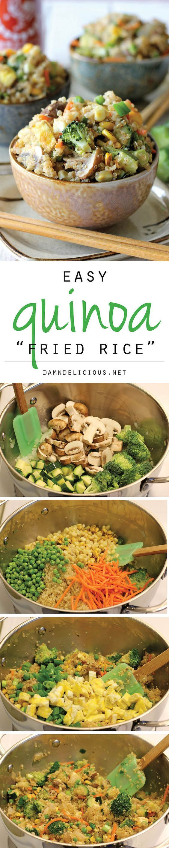 """Quinoa Veggie Fried Rice - Quinoa is a wonderful substitute in this protein-packed, healthy veggie """"fried rice""""! #vegetarian #recipes #healthy #vegan #recipe"""