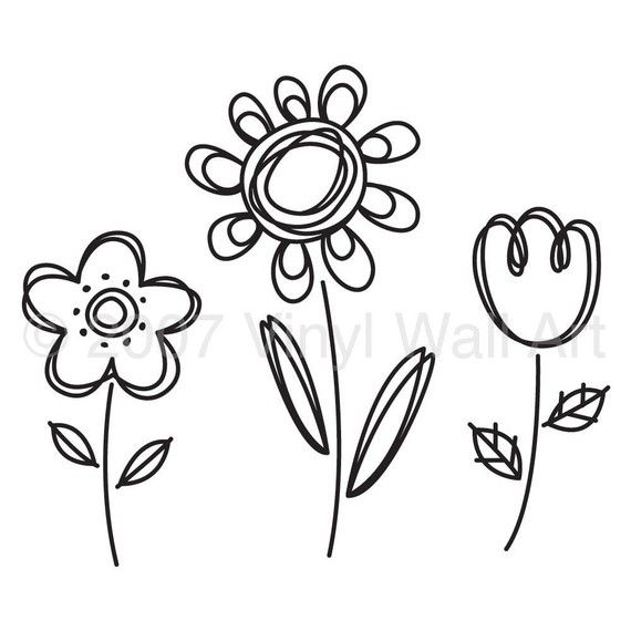 Doodle Flowers Vinyl Decal (set of 3) size MEDIUM, Children's Room Decor, Nursery Decor, Office Decal, Little Girl Design