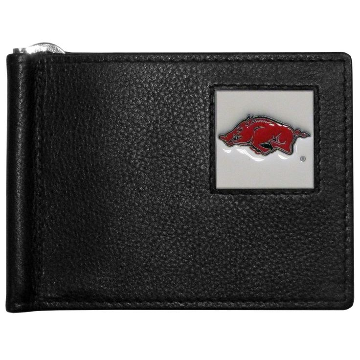 """Checkout our #LicensedGear products FREE SHIPPING + 10% OFF Coupon Code """"Official"""" Arkansas Razorbacks Leather Bill Clip Wallet - Officially licensed College product Genuine fine grain leather wallet Metal, flip out bill clip Slim style wallet  with lots of storage Metal Arkansas Razorbacks emblem with enameled team colors - Price: $22.00. Buy now at https://officiallylicensedgear.com/arkansas-razorbacks-leather-bill-clip-wallet-cbcw12"""