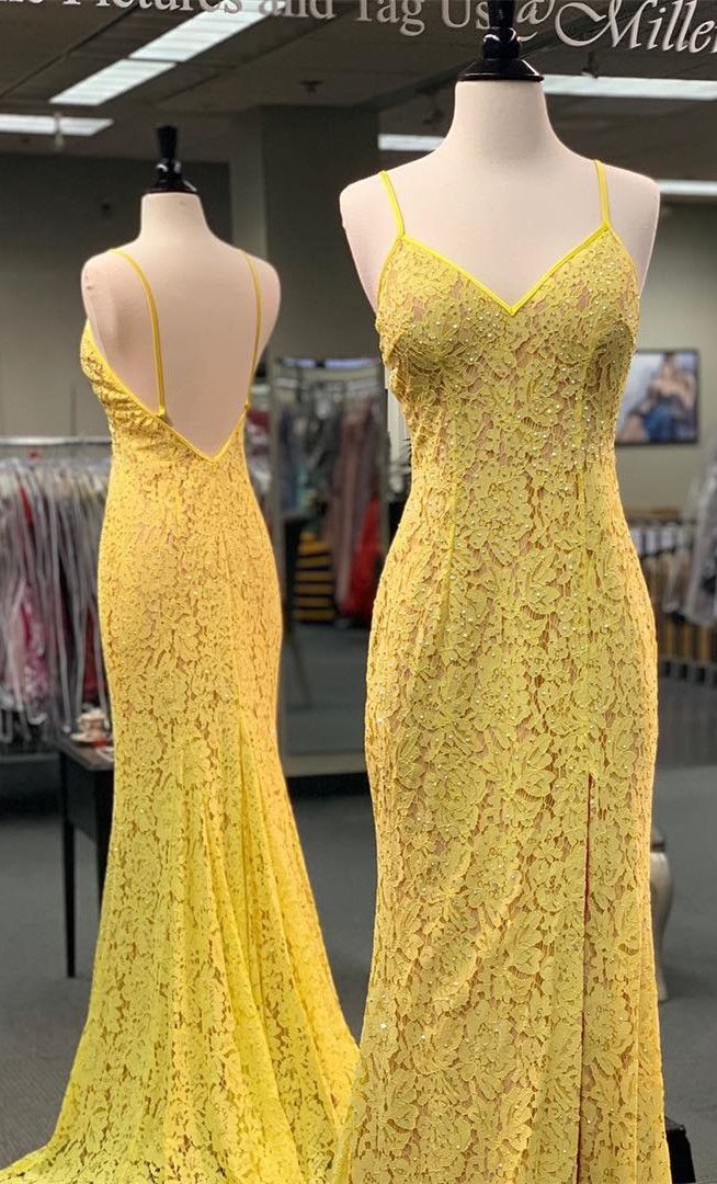 08e31eb0e85 Gorgeous Straps Yellow Mermaid Lace Long Prom Dress in 2019