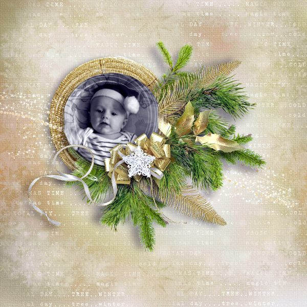 Sweet-Chick Scrap and Co my page with merry gold xmas by bee création
