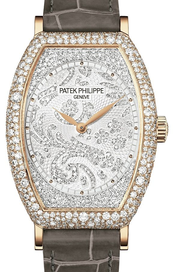 Patek Philippe Ladies Gondolo Rose Gold Diamond Watch. Case set with 480 diamonds (~3.31 ct), gridless setting Hand-guilloched gold dial set with 367 diamonds (~0.56 cts), gold cabochon hour markers. 18K gold dial plate. Strap: alligator with square scales, shiny taupe. Prong buckle set with 26 diamonds (~0.15 ct). Cambered sapphire-crystal case back Water resistant to 30 m. Rose gold