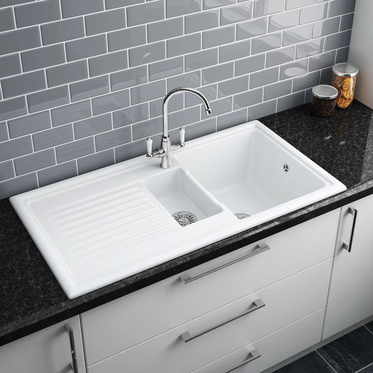 reginox white ceramic 1 5 bowl kitchen sink at victorian plumbing uk in 2020 white ceramic on kitchen sink id=88271