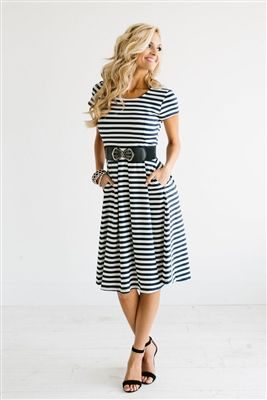 Navy White Stripe Modest Dress Down East Basics, Church Dresses, dresses for church, modest bridesmaids dresses, trendy modest dresses, modest womens clothing, affordable boutique dresses, cute modest dresses, mikarose, trendy modest boutique
