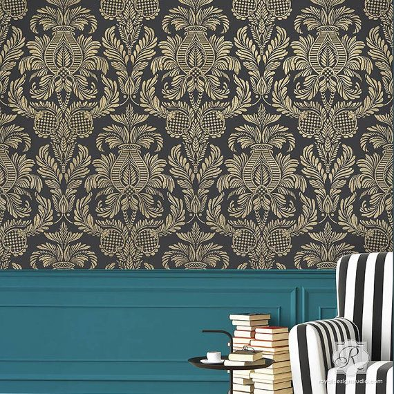 Isle of Palms Large Damask Wall Stencil for by royaldesignstencils