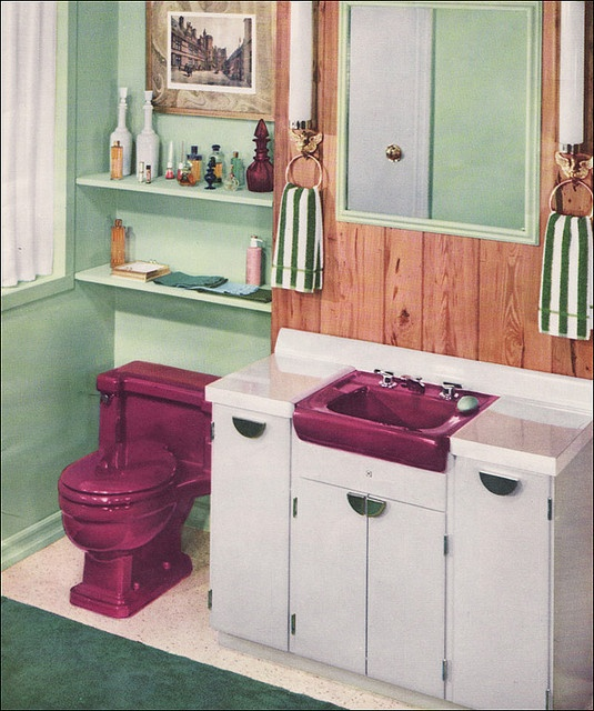 1957 T'ang Red Dresslyn Sink & Toilet    Source: Planning Modern Bathrooms in Color by American Standard  Image from the Mid Century Home Style collection.