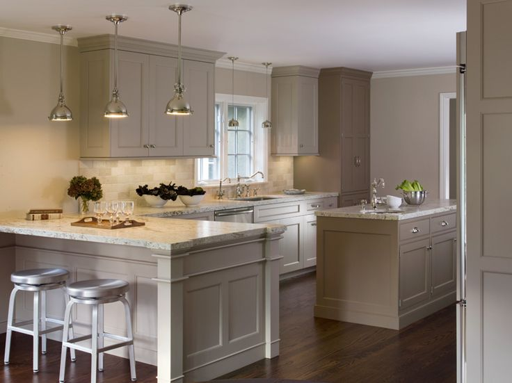 17 Ideas For Grey Kitchens That Are: Greige Cabinets + Yoke Pendants + Aluminum Stools