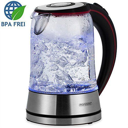 Wasserkocher Teekocher 1,7 L Edelstahl Glas LED Ko
