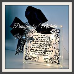 Serenity Prayer Light Up Glass Block