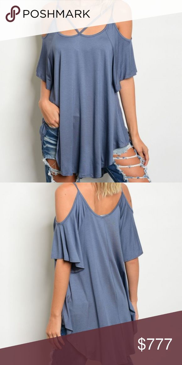 """SASSY CASUAL TOP NEW BOUTIQUE ITEM   """"COMFY AND CASUAL"""" This light indigo blue jersey top features a sassy cold shoulder details, loose and relaxed fit and sassy square neckline with strap details. Grab yours today! Pair with leggins or jeans Material 95% VISCOSE 5% LYCRA . Tops Tees - Short Sleeve"""