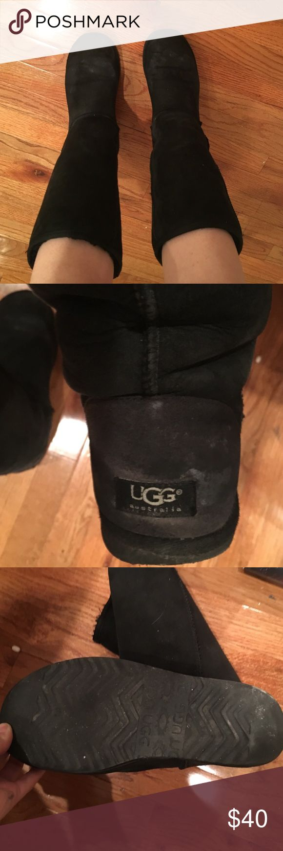Black tall ugg boots Sz 9 These are a pair of used black uggs, they do have some water marks and scuffs. I almost never wear these anymore as I live in NYC and the winters are very wet. I also have a pair of size 9 chestnut tall uggs as well. Those are in better condition but have a sharpie mark on the side. Willing to add more photos or combo or sell separate! UGG Shoes Winter & Rain Boots