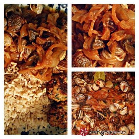 Σαλιγκάρια με καραμελωμένα κρεμμύδια και μανιτάρια