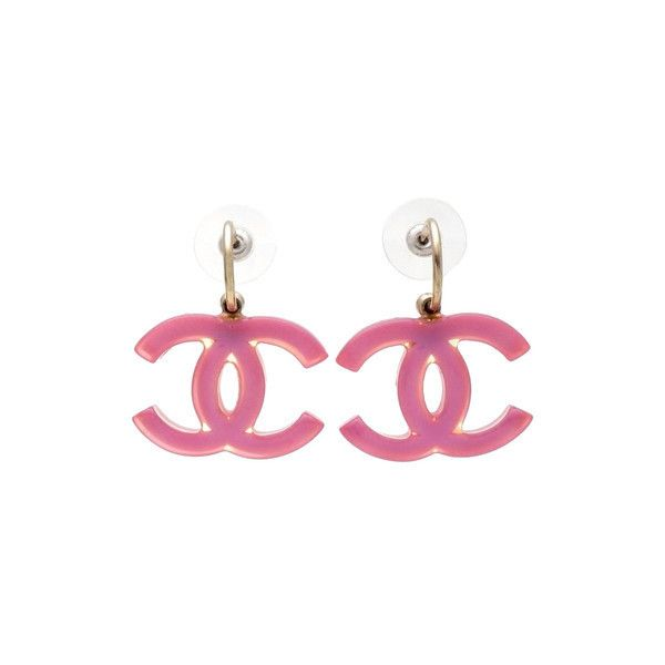 Vintage Chanel stud earrings pink CC logo dangle ❤ liked on Polyvore featuring jewelry, earrings, dangle earrings, pink earrings, pink jewelry, logo jewelry and dangling jewelry