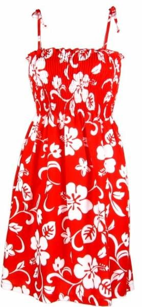 Hibiscus Paradise - Ladies Smocked Tube Dress - Red, Robert J. Clancey - Ladies Hawaiian Clothing, W151S-QK-Red - Paradise Clothing Company