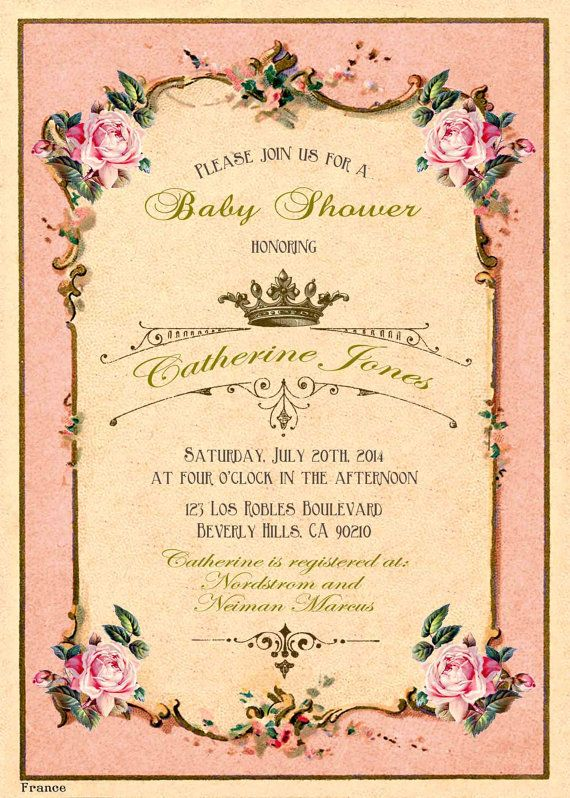french pink antique baby shower invitation by babyshower tea party