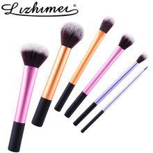 Classico giro vita pennelli trucco 6 pz set tubo di Alluminio make up kit di bellezza strumento impostazione liner brush maquiagem fondazione set(China (Mainland))