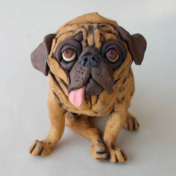 Pug Dog with Tongue Hanging Out Whimsical Ceramic by RudkinStudio