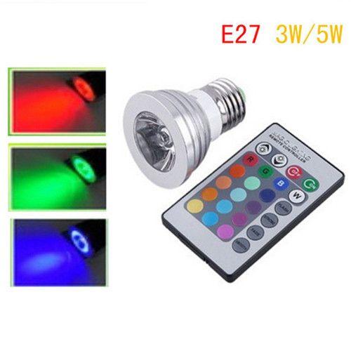 5Pcs/lot 16 Color E27 Remote Control 3W/5W RGB LED Light Bulb Lamp Free Shipping $30.57 (free shipping)
