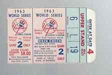 1963 World Series Ticket Stub Yankees vs. Dodgers Game 2