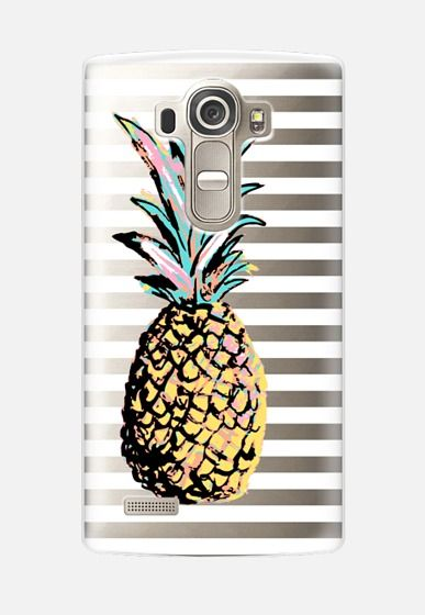 Pastel Party Pineapple White Stripes Transparent LG G4 Case by Organic…