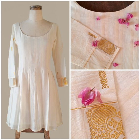 White and Gold Pleated Summer Dress Crafted from a Traditional South Indian Saree by MograDesigns