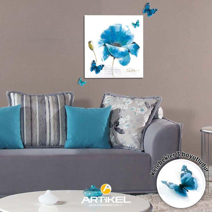 """Yeni 3d kanvas tablo modelimiz """"Blue Flower"""" stoklarımızda.. #yeniürün #tasarım #kanvastablo #3dkanvas #butterfly #kelebek"""