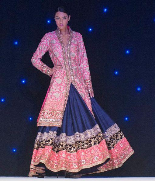 manish malhotra pink blue gold sherwani lengha indian wedding