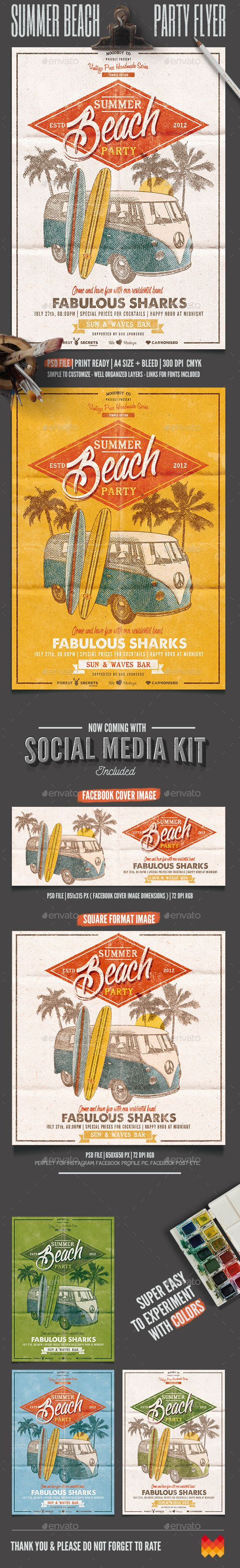 Summer Beach Party Flyer/Poster Template #design Download: http://graphicriver.net/item/summer-beach-party-flyerposter/12057652?ref=ksioks