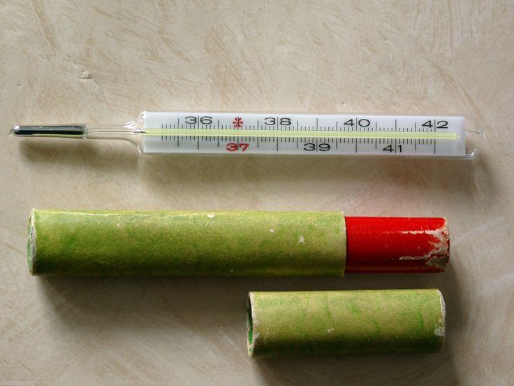 Quecksilber Glas-Fieberthermometer mit Pappetui ... Damals gab es nur Thermometer mit Quecksiber. ich benutze es nicht mehr, aber hab unseres noch mit Metall-Schutzröhre