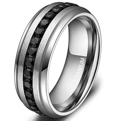 7mm Titanium Eternity Ring Channel Set Black CZ Wedding Band for Men Women Size 6 to 13