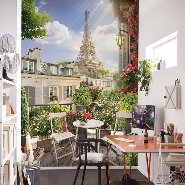 Fotomural De Una Preciosa Terraza De París En Este Mural