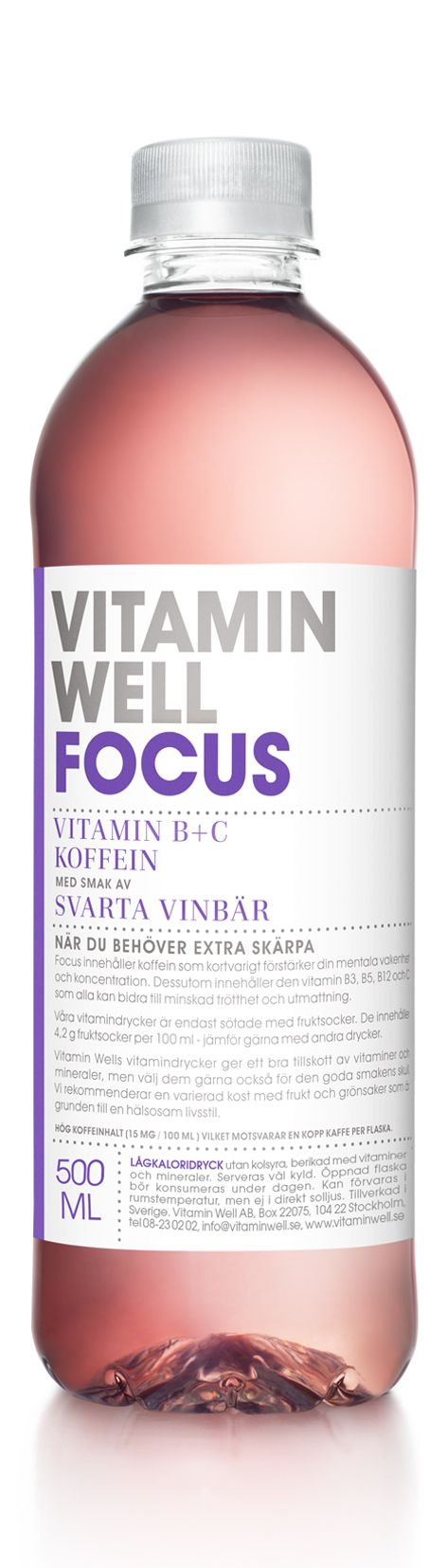 WHEN YOU NEED TO STAY SHARP - WITH A TASTE OF BLACKCURRANT Vitamin Focus contains caffeine, which helps to increase alertness, and improve concentration. It also contains vitamin C, B3, B5, B12 which can reduce tiredness and fatigue.
