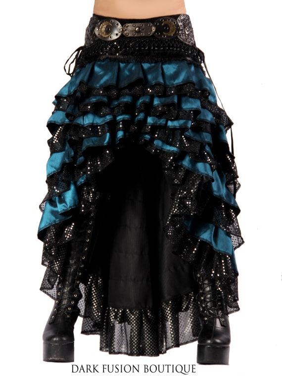 Ruffle Skirt, Black and Blue, Cabaret, Vaudeville, Steampunk, Vampire, Noir, Gothic, Witchy, Black Rock, Dance