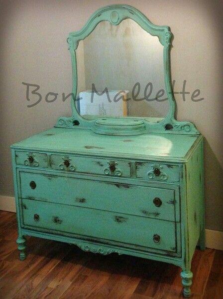 Distressed dresser antique dresser turquoise