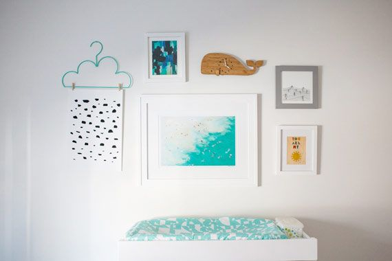 """Our """"You Are My Sunshine"""" print in a modern nautical nursery by Ampersand Design 