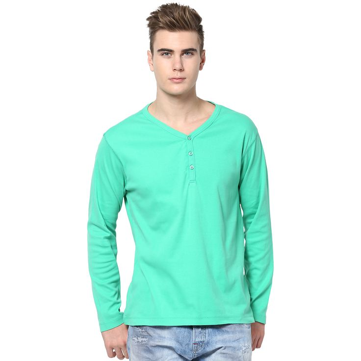 MUDO Light Green Solid Henley T-shirt for men