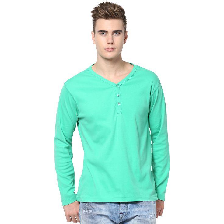 MUDO Light Green Solid Henley T-shirt for men