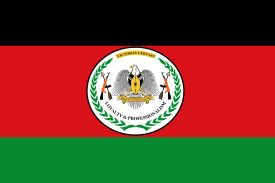 Flag of the SPLA-The Sudan People's Liberation Army is the army of the Republic of South Sudan. The SPLA was founded as a guerrilla movement in 1983 and was a key participant of the Second Sudanese Civil War. Throughout the war, it was led by John Garang de Mabior.