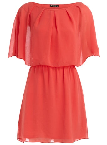 coral cape sleeve dress
