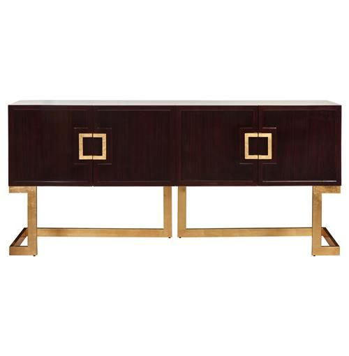 Emmett Hollywood Regency Rosewood Gold Media Console Cabinet