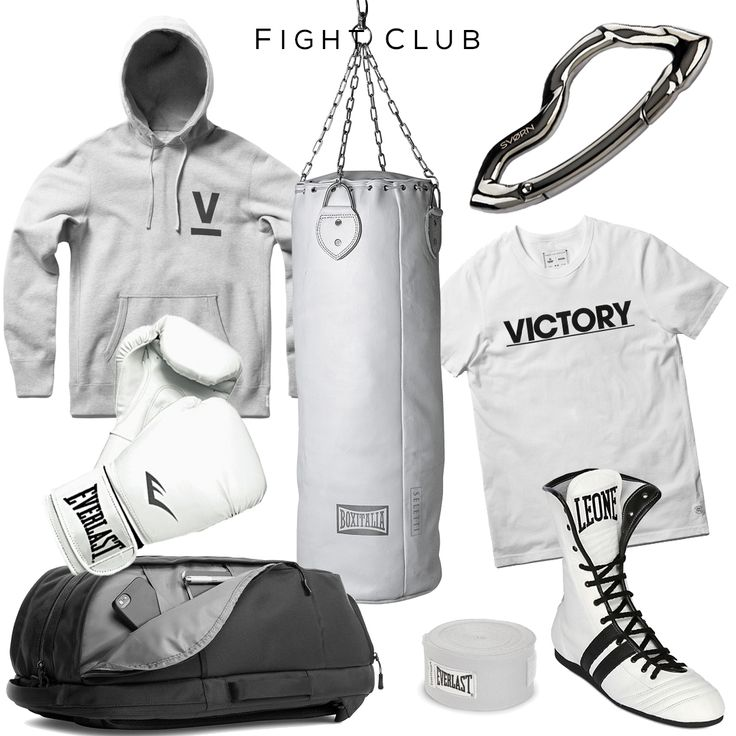 Fight Club style set -Clockwise: Punching Bag by SELETTI BOXITALIA, Arcus Carabiner by SVORN, T-Shirt by REIGNING CHAMP X VICTORY, Handmade Leather Boxing Boots by LEONE 1947, Hand Wraps by EVERLAST, Aer Duffel Pack by GALLANTRY, Boxing Gloves by EVERLAST, Hoodie by REIGNING CHAMP X VICTORY - #athleisure #sports #boxing #gym #training #luxury #mensfashion #carabiner #keychain #luxury #box #power #badass #edc #urbanstyle #svorn #streetstyle #streetfashion #mensaccessories #sneakers #hoodie